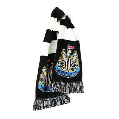 Official Newcastle United Football Club Crest Colours Black And White Bar Scarf