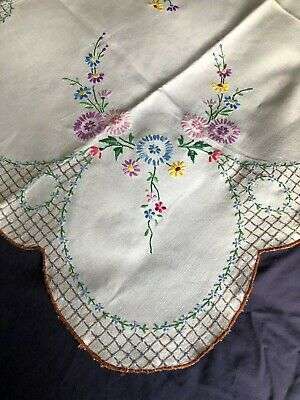 Gorgeous Vintage Floral Hand Embroidered Lge Square Cream Irish Linen Tablecloth