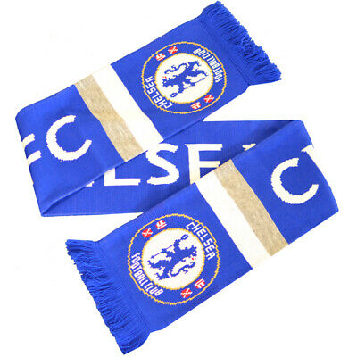 Official Chelsea Football Club Crest Colours Royal Blue Stripe Design Scarf