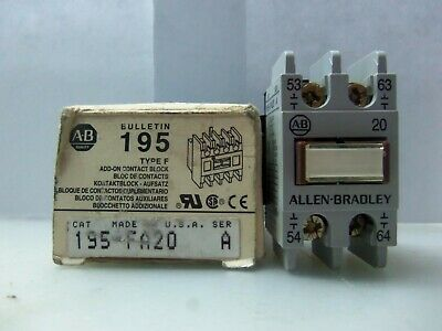 New Allen Bradley 195-FA20 Auxiliary Contact Series A NIB