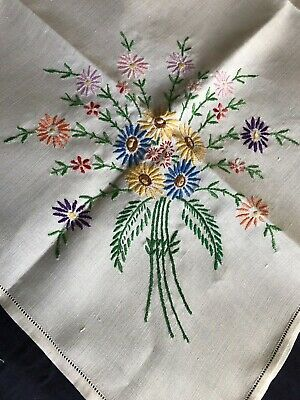 Sweet Vintage Floral Hand Embroidered Small Square Cream Irish Linen Tablecloth