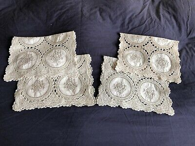 Vintage Cotton Madeira Style Work Inserts Embroidered Set 4 Crocheted Place Mats
