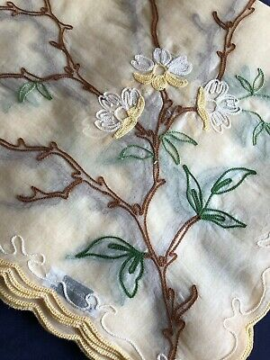 Vintage Harrods Hand Embroidered Swiss Made Organdie Large Oblong Table Cloth