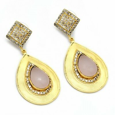 22K Yellow Gold Plated  Double Drop Earrings with Rose Quartz and Zirconia