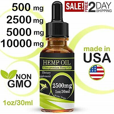 Organic Hemp Oil Drops CDB Pain Relief Weed Anti-Anxiety Sleep Aid 500mg-10000mg