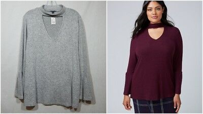 2b7a6c6c77 Lane Bryant Womens New Hacci Choker Sweater 18 20 2X Plus Shirt Top Blouse  Sexy