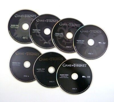 7 Blu-ray Discs Lot GAME OF THRONES Partial Seasons One Two Three (discs only)