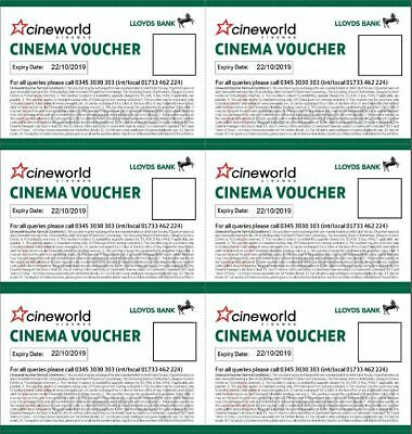 6 Cineworld Cinema tickets - Valid until 22/10/2019