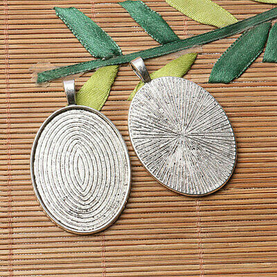 Tibetan silver plated carved oval shape 30*40mm cabochon settings   2pcs  EF3570