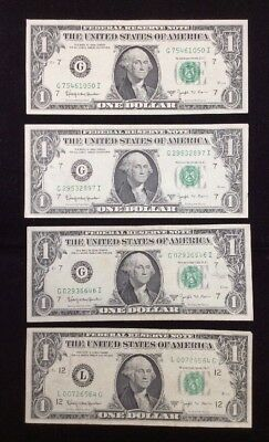 """1963-B $1.00 Federal Reserve """"Barr"""" Notes-Lot of 4 Notes"""