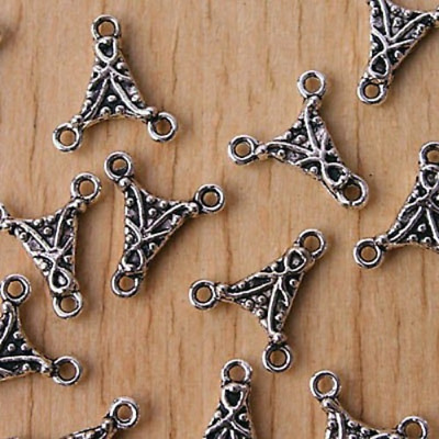 25pcs Tibetan Silver 2SIDED 3holes charms/connector h2815