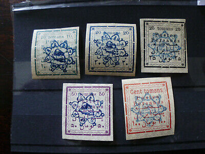 """Persia/Persien/Perse/Persian/Middle East 1902,""""Tomans"""" Mony Order Issue all Mint"""