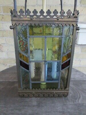 Antique English Brass Victorian Stained Glass Hall Light