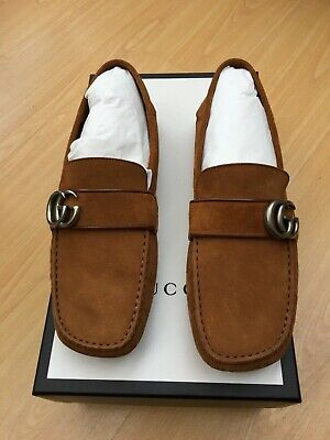 76d4419ba5d NEW GUCCI NOEL Tan Brown Suede Mens Loafers Driving Uk 7 41 Gg Logo ...