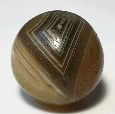 16.4mm ANCIENT RARE WESTERN ASIAN BANDED AGATE EYE BEAD