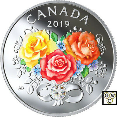 2019 'Celebration of Love' Crystalized Proof $3 Silver Coin .9999 Fine (18678)NT