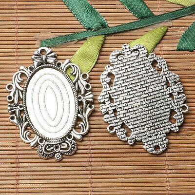 Tibetan silver plated crown  oval 20*30mm cabochon settings   2pcs  EF3572