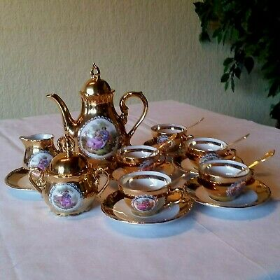 altes Mocca Service Mokkaservice Gold 5 Personen Löffel, Decor: Wateau-Art