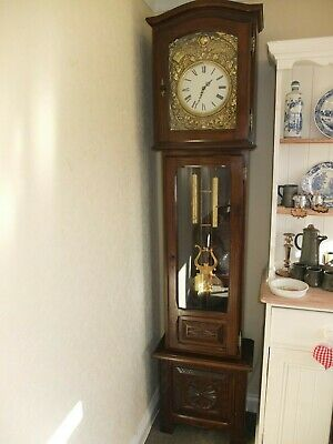 Early 20th Century French Longcase Clock, white enameled dial, roman numerals