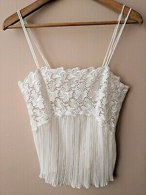 90s vintage cream lacey camisole vest 12 lingerie ribbed