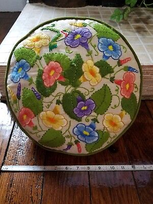 Vintage Needlepoint Zippered Round Pillow, Unique Floral Hummingbird Pattern
