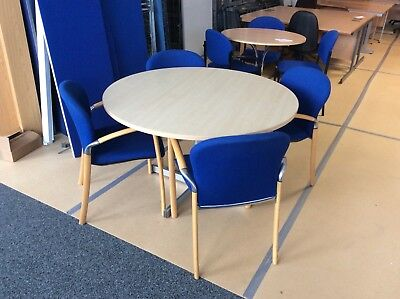 Maple Round Meeting Table & Four Chairs
