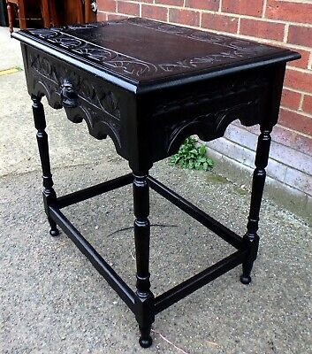 Victorian antique solid carved oak gothic Green man 1 drawer side console table