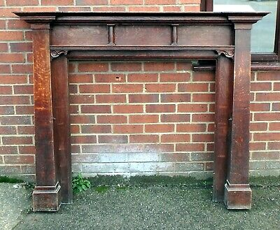 Victorian antique solid carved oak Liberty style fireplace surround mantlepiece