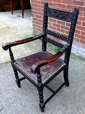 Victorian antique Arts & Crafts solid carved oak brown leather desk elbow chair