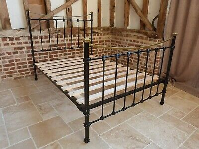 """Victorian 4ft 6"""" double brass and iron bed in black with new slatted base"""