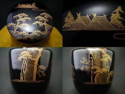 Japanese Traditional Lacquer Wooden Tea caddy SUMIYOSHI makie O-Natsume (207)