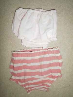 2 Pairs of Baby's Over Nappy Knickers up to 3 Months pale pink and coral & cream