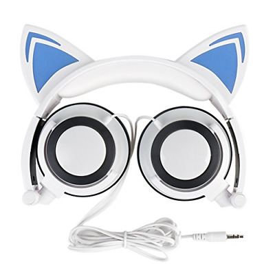 Cat Headphones,OUTOS Rechargeable Cute Cat Ear Headphones with LED Flashing Over