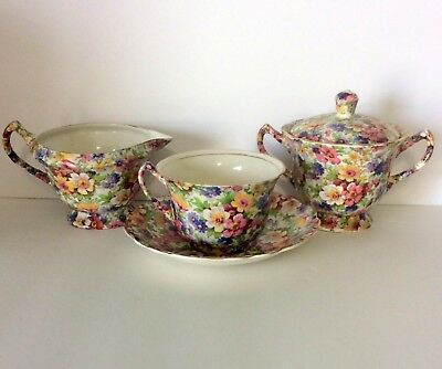 Royal Crown Pasadena Melody Chintz Tea Set (3 Items) Sugar-Creamer-Cup/Saucer