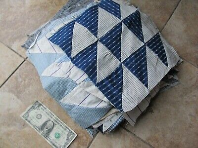"""LARGE Lot (46) of LARGE 12"""" Antique Patchwork SHIRTING Quilt Blocks, Crafts Gift"""