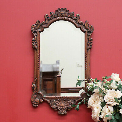 Antique French Bevelled Mirror and Carved Oak Frame Hall, Vanity, Wall Mirror