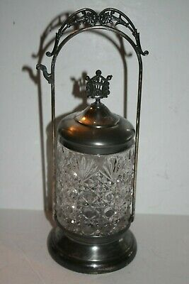 Vintage Cut Glass and Silver Plate Pickle Castor