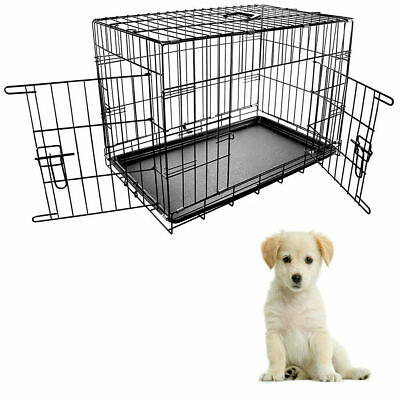 Pet Cage Dog Puppy Cat Training Crate Carrier Heavy duty Folding 30 Inches