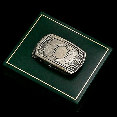 Antique Vintage Deco Sterling Silver Plated Geometric Womens Sash Belt Buckle