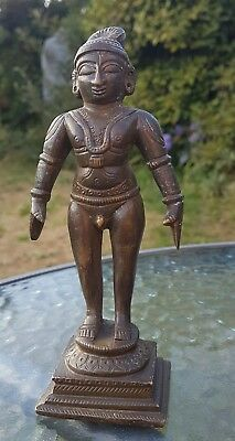Antique  Bronze Hindu God Vishnu Khmer Deity Figure Statue 16.5cm 6.5""