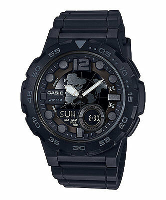 Casio AEQ100W-1BV, Digital/Analog Combo, 3 Alarms, 30 Telememo, Resin