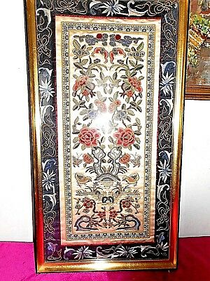 Antique Chinese silk embroidered framed textile