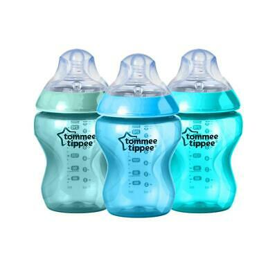 Tommee Tippee Closer To Nature Colour My World Feeding Bottles, 3 Pack (Boy) - 2