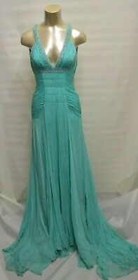 959490d62363 BCBG Max Azria ATELIER Gown turquoise Teal Embellished SILK RED CARPET DRESS  *4