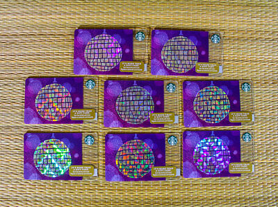 Starbucks Gift Card Lot 8 Cards Disco Ball Holiday Limited Edition Shiny New