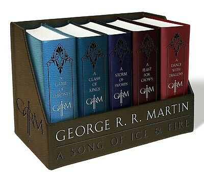 A Song of Ice and Fire Leather Cloth Boxed Set Game of Thrones 5 Hardcover Books
