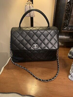 12500c7d7b44 CHANEL Classic Vintage Kelly Top Handle Flap Bag Black Caviar Quilted Jumbo  Size