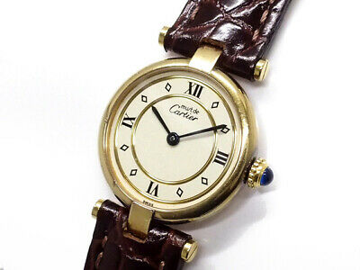 Cartier Watch Must de Cartier Vendome Authentic carved seal Brown Leather Box