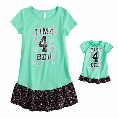 NWT Girls Time 4 Bed Nightgown Matching Doll Gown Fits American Girl Dollie    Me 0cd203c13