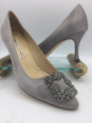 406ca73b5354a Authentic Manolo Blahnik Hangisi Satin Grey Jeweled-Buckle Pumps Sz 38 70mm  7cm